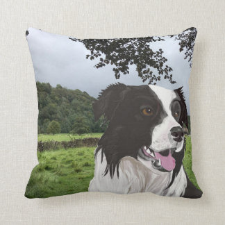Black and White Collie against a Yorkshire scene Cushion