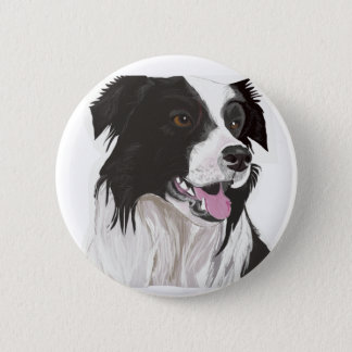 Black and White Collie with Brown eyes 6 Cm Round Badge