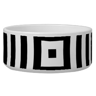 Black and White Concentric Circles Pattern Dog Water Bowls