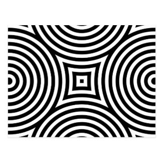 Black and White Concentric Circles Pattern Postcard