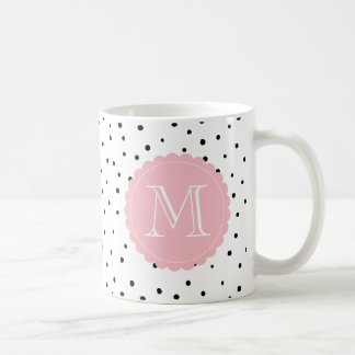 Black and White Confetti Dots Blush Pink Monogram Coffee Mug