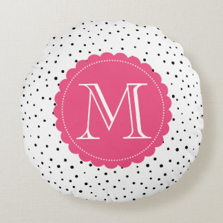 Black and White Confetti Dots Hot Pink Monogram Round Cushion