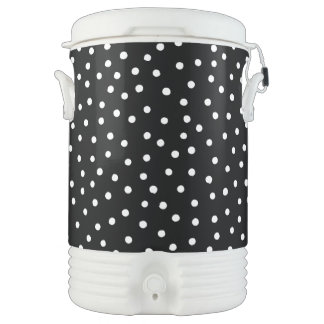 Black And White Confetti Dots Pattern Cooler