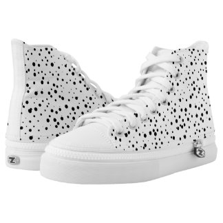 Black and White Confetti Dots Pattern High Tops