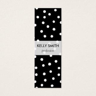 Black And White Confetti Dots Pattern Mini Business Card