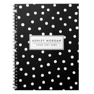 Black And White Confetti Dots Pattern Notebook