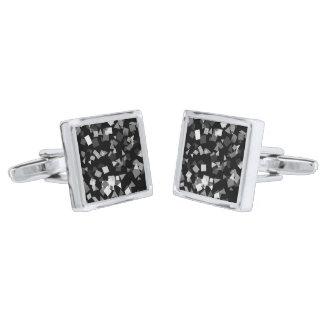 Black and White Confetti Silver Finish Cuff Links