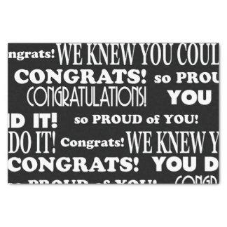 Black and White Congrats grad Tissue Paper