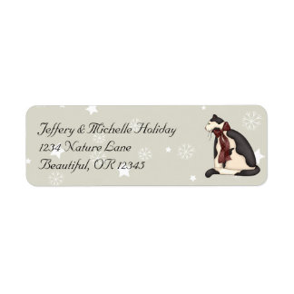 Black and White Country Cat and Snowflakes Winter Return Address Label