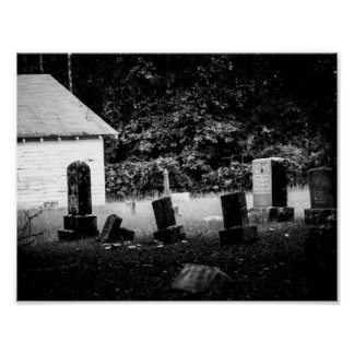 Black and White Country Cemetery Poster