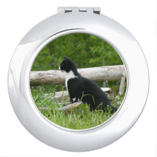 Black and White Country Kitten Cat Makeup Mirror