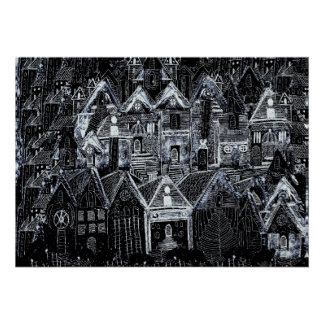 black and white countryside view poster