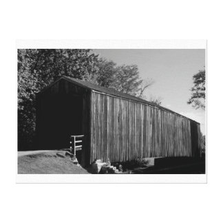 Black and white Covered Bridge Stretched Canvas Print