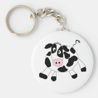 Black and White Cow Basic Round Button Key Ring
