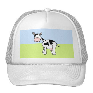 Black and White Cow Cartoon. Trucker Hat