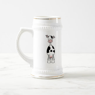 Black and White Cow Cartoon. Front. Beer Stein