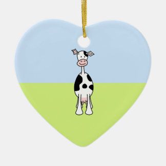 Black and White Cow Cartoon. Front. Ceramic Heart Decoration