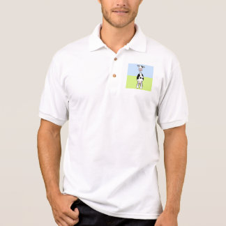 Black and White Cow Cartoon. Front. Polo