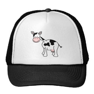 Black and White Cow Cartoon. Hats