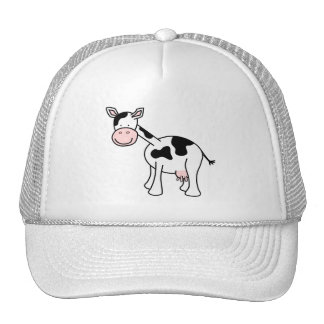 Black and White Cow Cartoon. Mesh Hat