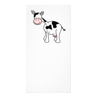 Black and White Cow Cartoon. Picture Card