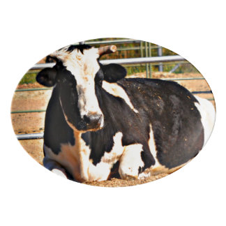 Black and White Cow Dining Platter