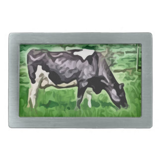 Black and white cow grazing painting. belt buckles