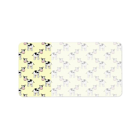 Black and White Cow Pattern on Light Yellow Address Label