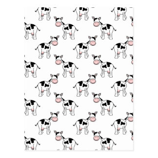 Black and White Cow Pattern. Postcard