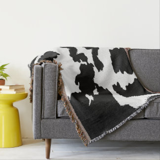 Black and white Cow Print Pattern Throw Blanket