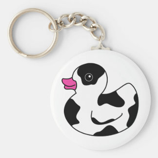 Black and White Cow Print Rubber Duck Basic Round Button Key Ring