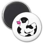 Black and White Cow Print Rubber Duck Refrigerator Magnet