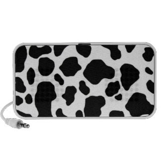 black and white cow print travelling speaker