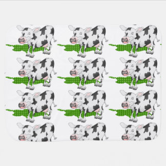 Black and white cow with green shadow baby blanket