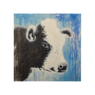 Black and White Cow Wood Wall Art Wood Canvases