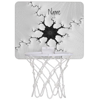Black and White Cracked Fractal Art Add Your Name Mini Basketball Hoop