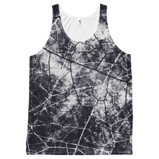 Black and White Crackle Lacquer Grunge Texture All-Over Print Singlet