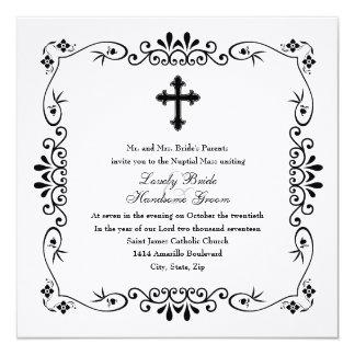 Black and White Cross Catholic Wedding Invitation