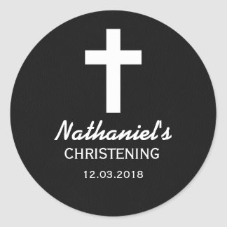 Black and White Cross Christening Baptism Sticker