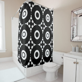Black and White Crosses and Circles Shower Curtain