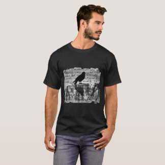 Black And White Crow Collage Art T-Shirt