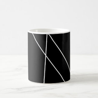 Black and white cup with modern lines. basic white mug