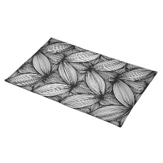 Black And White Curvy Stripes Table Placemats