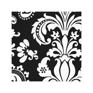 Black and White Custom Damask Canvas Print