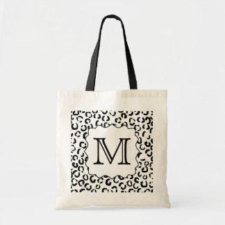 Black and White Custom Monogram Leopard Print. Canvas Bag