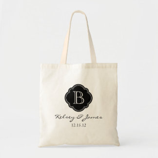 Black and White Custom Monogram Wedding Favor Tote