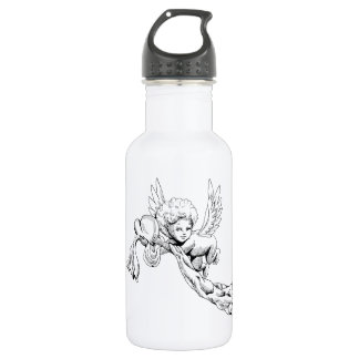 Black and white Cute Angel with heart 532 Ml Water Bottle