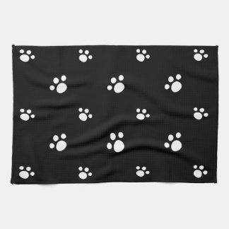 Black And White Cute Puppy Dog Paw Print Pattern Tea Towel