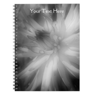 Black And White Dahlia Flower Petals Notebook