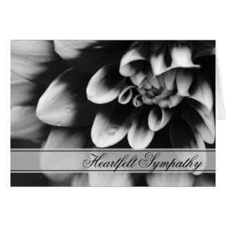Black and White Dahlia Sympathy Card